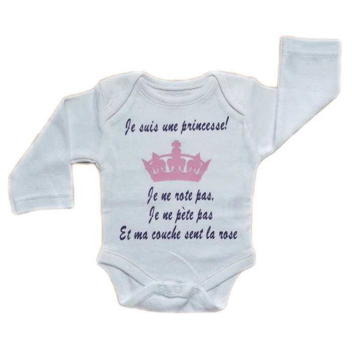 Body Bébé Humour Je Suis Une Princesse Blanc Achat Vente Body