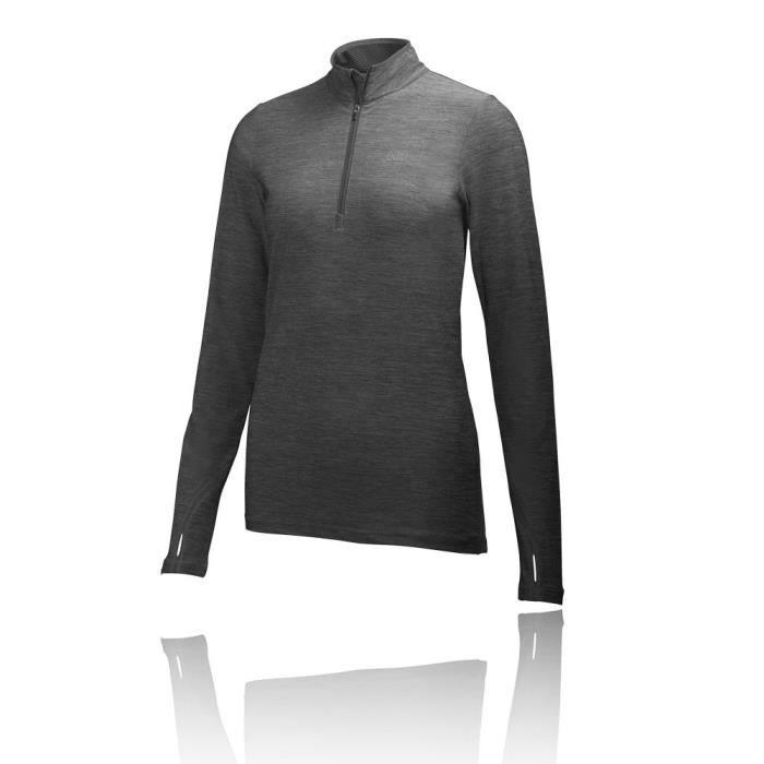 46dff394a63a6 Helly Hansen Femme Aspire Flex 1-2 Zip T-Shirt Course À Pied Noir ...