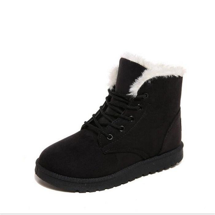 Bottine Femme hiver chaud hiver Coton peluche boots BJ-XZ002Noir-35