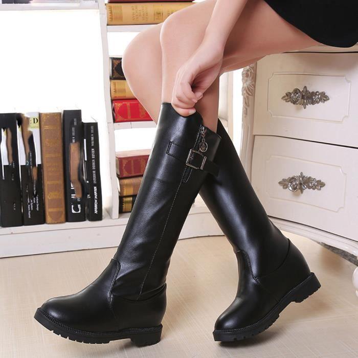 Napoulen®Femmes plat Martin bottes zippée cheville en peluche talons populaire Noir-XYY71102516BK