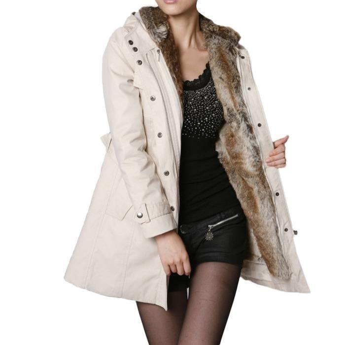Manteau chaud pour hiver doublure épaisse femme en veste fourrure 29YEHDIW