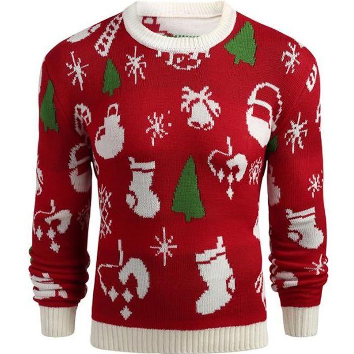pull homme de Marque Pull chaud Noël tricot pull tendance homme rouge slim  à col rond décontracté d hiver Vente chaude sweatshirt 81b602e1bbff