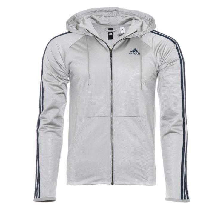 D2M Homme Veste de survêtement Gris argent Adidas