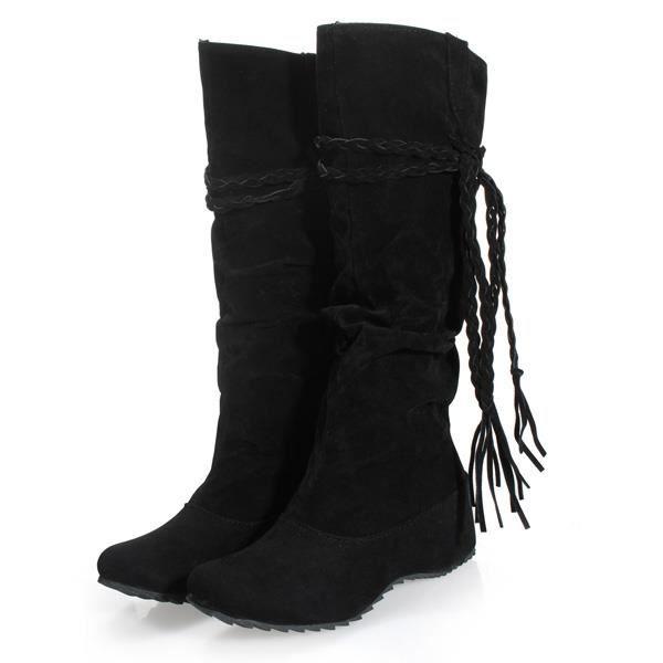 Glands boho femmes plates bottes de neige bout rond suede et hiver sur le genou cuissardes bottes noir