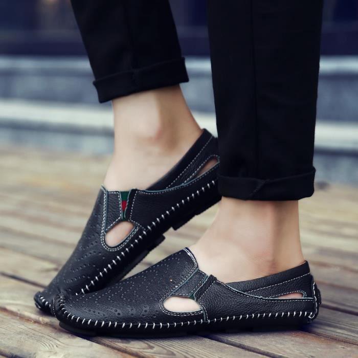 Casual de d'été en Hommes cuir Chaussures hommes souple de Chaussures respirant mocassin Chaussures cuir conduite véritable Flats T8pqpfw