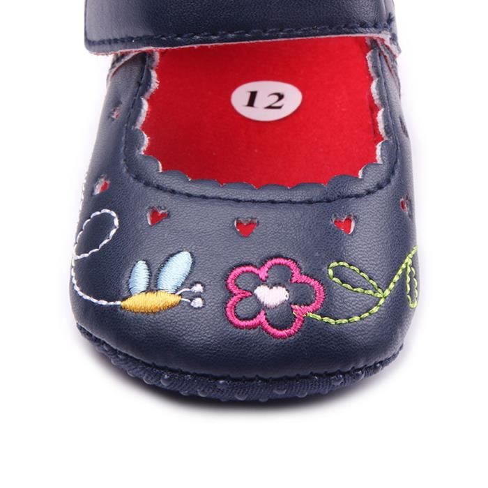 BOTTE Bébé nouveau-né bébé Floral Print Sneaker antidérapant doux Sole Toddler Chaussures@Noir zCohty