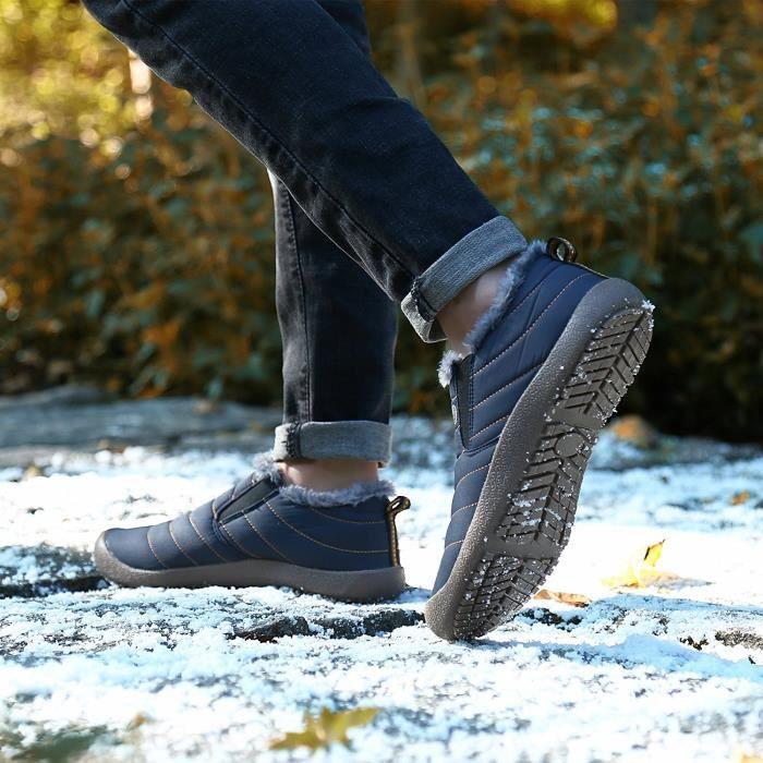 Minetom Printemps Unisexe Fourrées Chaudes Bottes Waterproof Chaussures Hautes Basse Plates Boots Bottines pour Femmes Homme fqnC0I