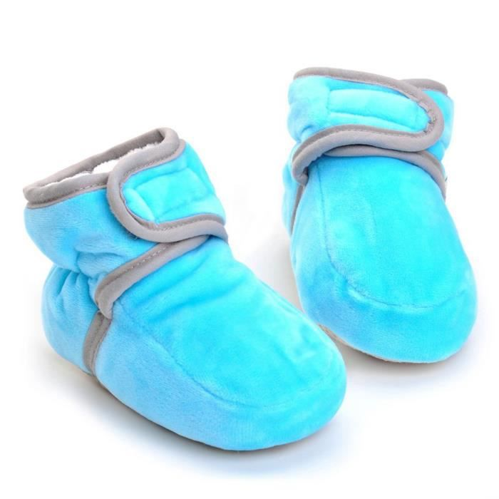 BOTTE Nouveau-né infantile bébé garçon fille crèche solide chaussures semelle antidérapante@Bleu cielHM