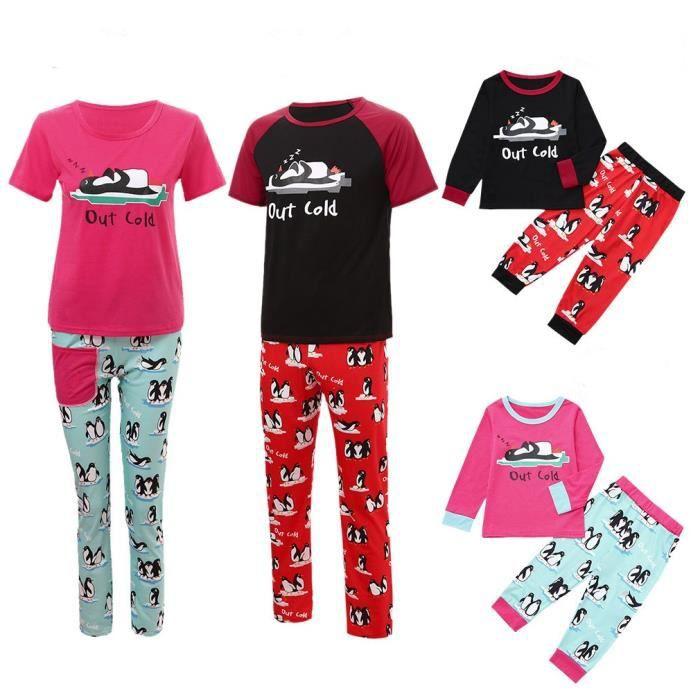 Pyjama Enfants Lettre Nuit Noël Famille Ensemble Rouge Père De Garçon Du Fille Vêtements A0TOBq0x