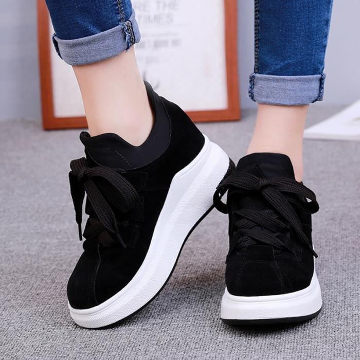 chaussures multisport Femme Automne - hiver de femme Souliers Slip-on à haut talons Mocassins noir taille7