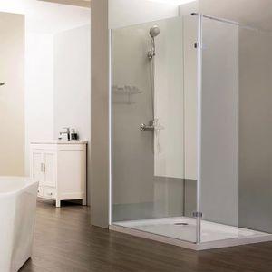 Paroi de douche italienne fixe 8 mm 120 cm avec retour pivotant 40 cm et barre de soutien horizontale