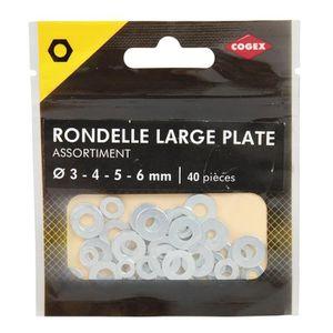 COGEX Rondelle large plate assortie - ? 3-4-5-6mm - Acier zingue - 40 pcs