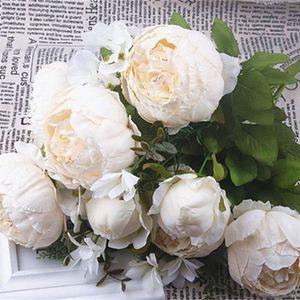 FLEUR ARTIFICIELLE SHINE-CO Bouquet de Fleur de Soie de Pivoine Artif