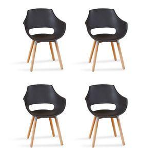 FAUTEUIL Lot de 4 fauteuils scandinaves noirs - Treia