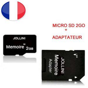 CARTE MÉMOIRE Carte mémoire Micro SD 2 Go classe 10 + adaptateur