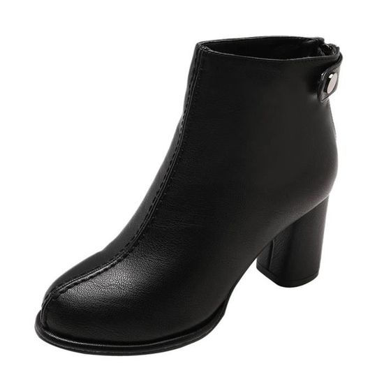 Noir Zipper Bottes En Cuir Solide Femmes Bout Chaussures Talons Cheville Martin Couleur Rond À ZqgCZO1w
