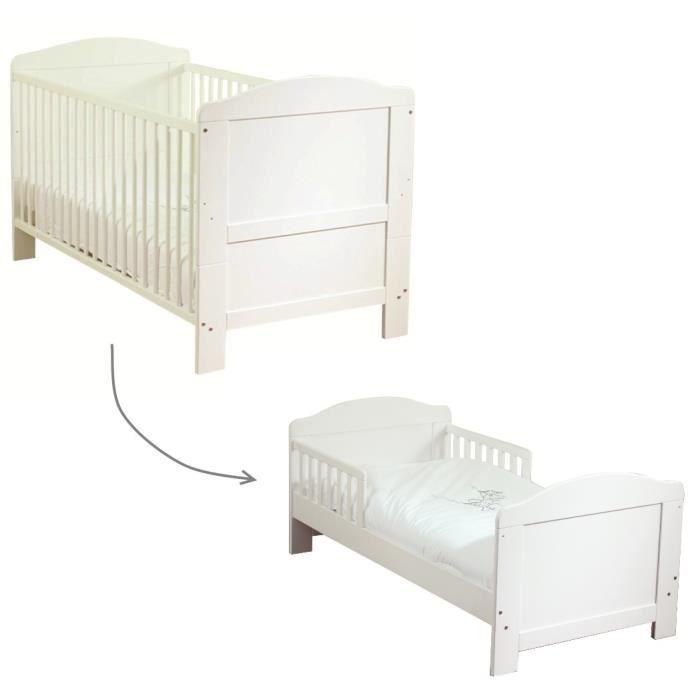 GAUFFRETTE Lit bébé à Barreaux Transformable 70x140 cm Sommier 2 Positions