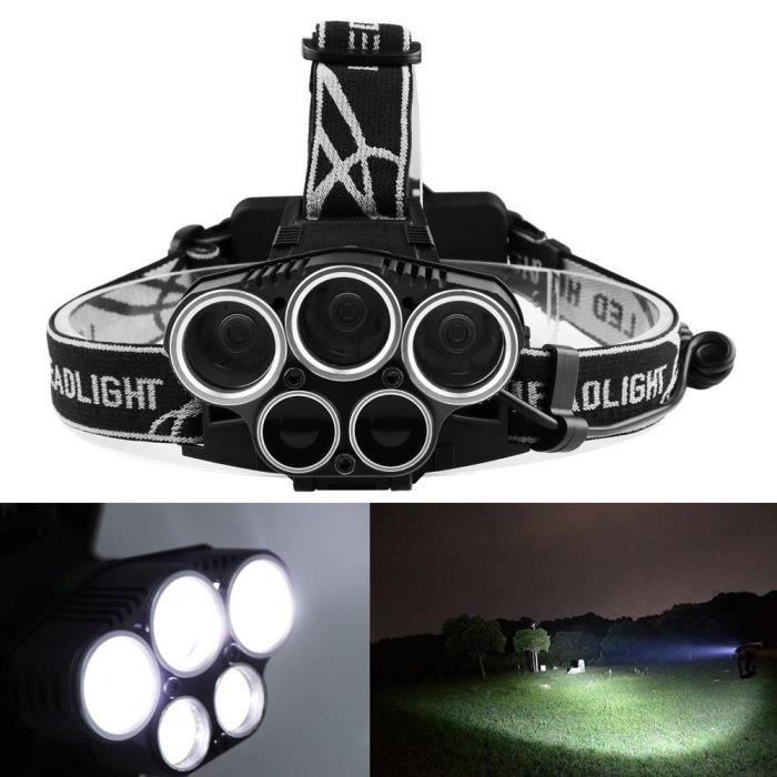 Lampe Frontale Super Puissante Avec 5 Led Cree Xm L T6 Lampe Phare