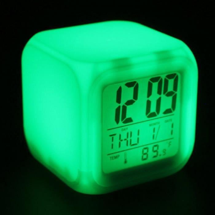 7 Couleur Led Changement De Digital Lcd Alarme Horloge Thermomètre Heure Night Lumiere Lh8