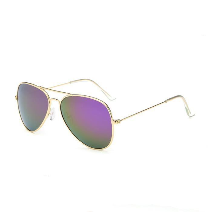Lunettes de soleil mixte homme et femme polarisées de Fashion Retro Grande Cadre sunglasses marque de Luxe Golden/Violet