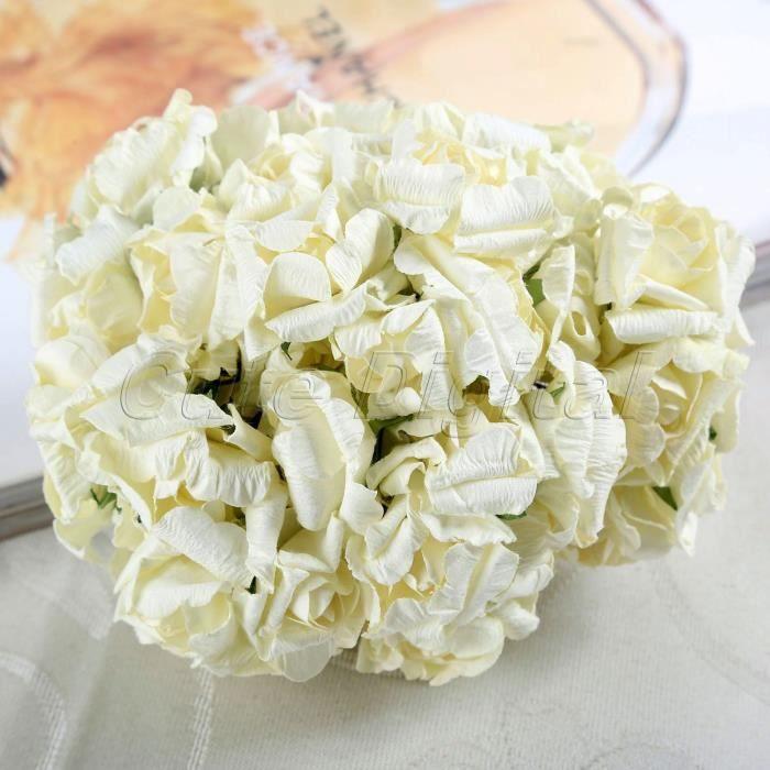 Fleur De Papier Artificielle Blanc Cremeux 144pcs Mariage Mini Fleur