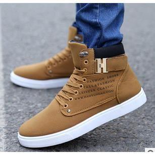 Chaussures de sport de haute chaussures hommes respirant chaussures de garçons, kaki 41