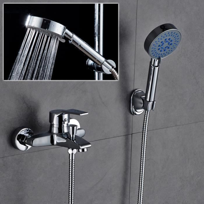auralum robinet de baignoire avec douchette douche pour salle de bain mitigeur design classique. Black Bedroom Furniture Sets. Home Design Ideas