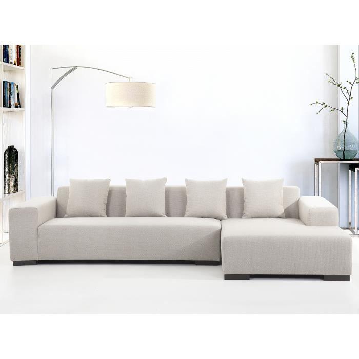 Canapé d angle canapé en tissu beige sofa Lungo G Achat