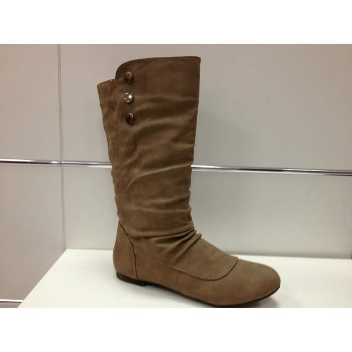 762ac009a2aa Botte femme bottines talon plates boots F006 taupe taupe - Achat ...