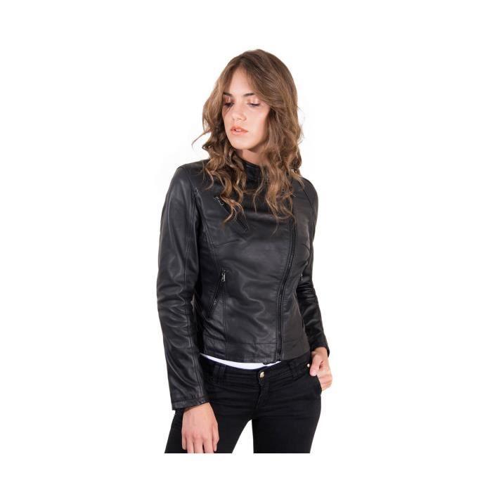 851396606aab KARIM couleur noir veste en cuir femme perfecto cuir plongé aspect lisse -  Colore Noir Tagli