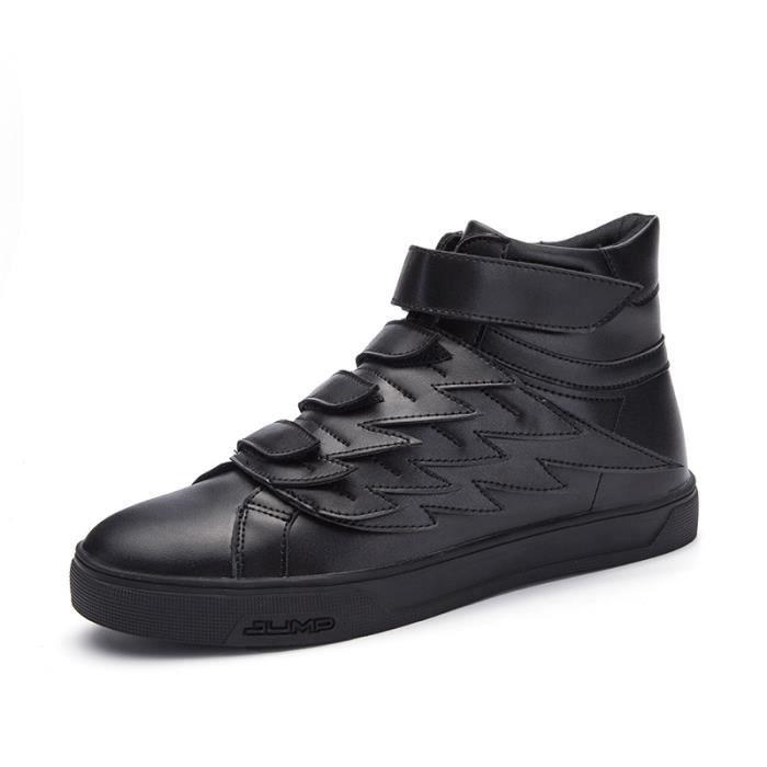 43 verges de bottes simples de noir en cuir verni chaussures hommes mode augmenté chaussures à fond épais version coréenne de bottes EDJpWA