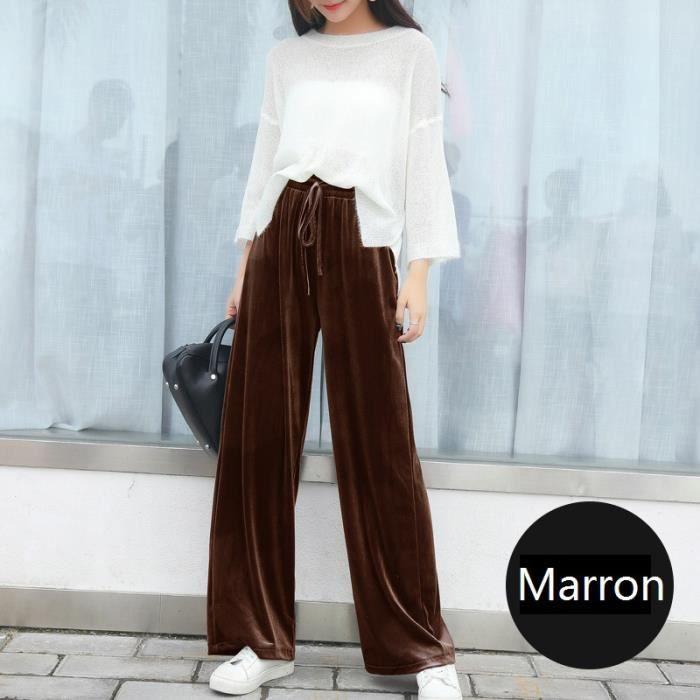 D'or Grande Coton Serrage À Large Femme De Velours Taille Pantalons 8nNmw0