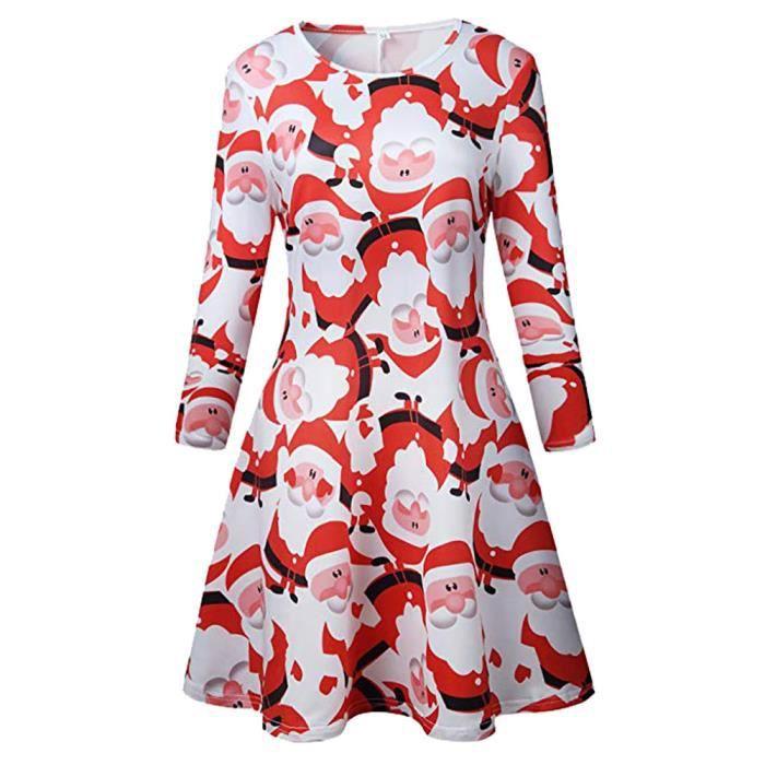 Noël vintage des femmes de Santa Imprimé Costume A-ligne en vrac Robe Swing  LMN390 c12d74fff97
