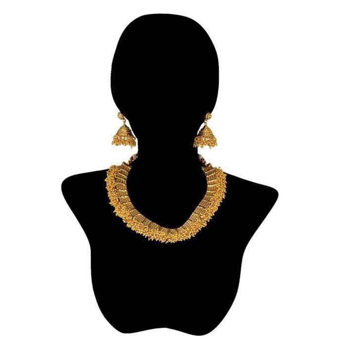 Femmes traditionnel Antique dor en alliage métallique Ensemble de bijoux avec collier et boucles doreilles pourWP51U