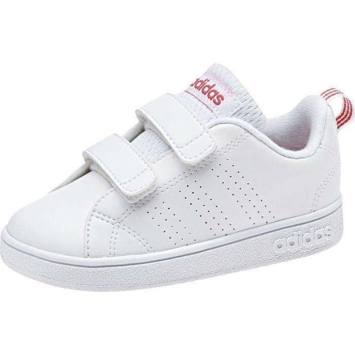 ADIDAS Baskets Vs Advantage Clean VLC - Bébé fille - Blanc et rose
