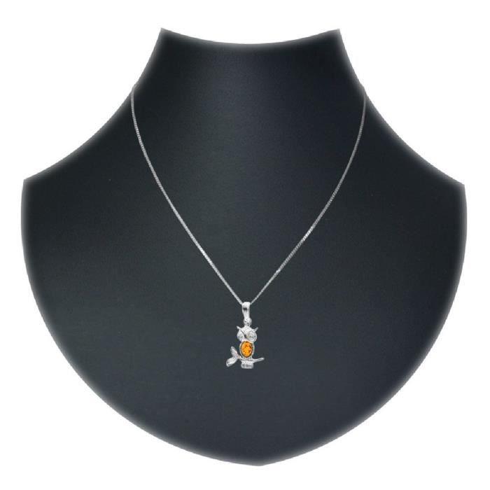 Collier Avec Pendentif Femme - Argent 925-1000 - Ambre NI4EU