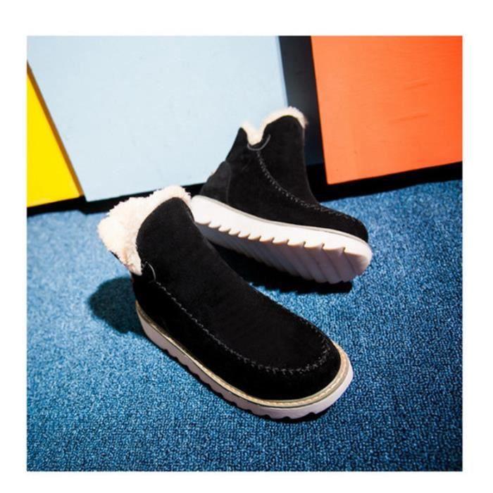 chaussures en bottines Gommage des neige cuir Nouvelles bottes de féminines d'hiver 08S8q
