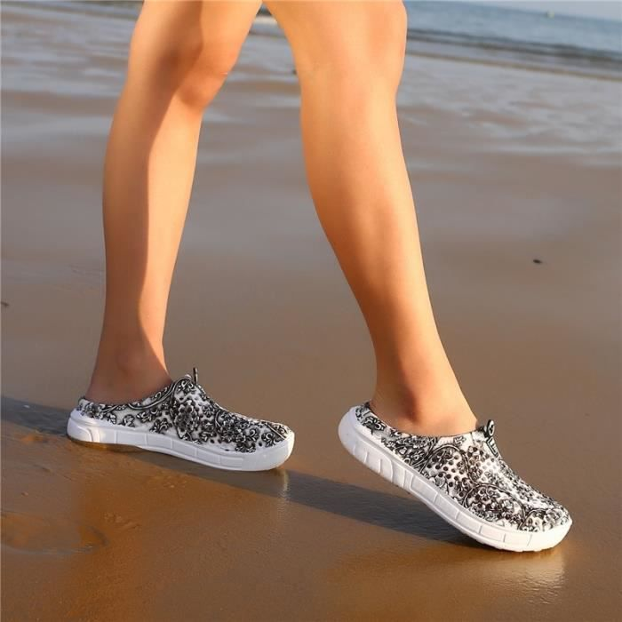 Sandale Femme Été Femmes Chaussons Bleu et Blanc Porcelaine respirante Mesh de plage trou bleu taille8 JL1UClb