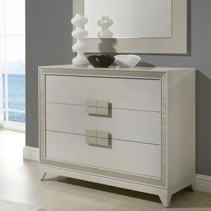 COMMODE DE CHAMBRE Commode 3 tiroirs beige laqué design LUCIA 2 Blanc