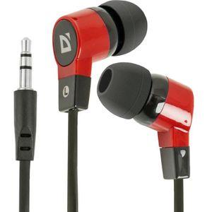 CASQUE - ÉCOUTEURS Defender In-Ear Écouteurs Basic 619 Noir + Rouge