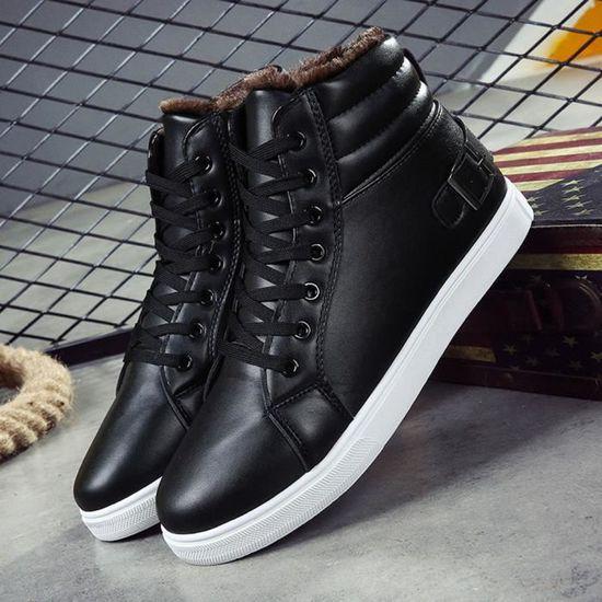 Bottes Bottines Hiver Automne Chaussures noir Chaud Fourrure Martin Hommes Doublée 3j4cAq5RL