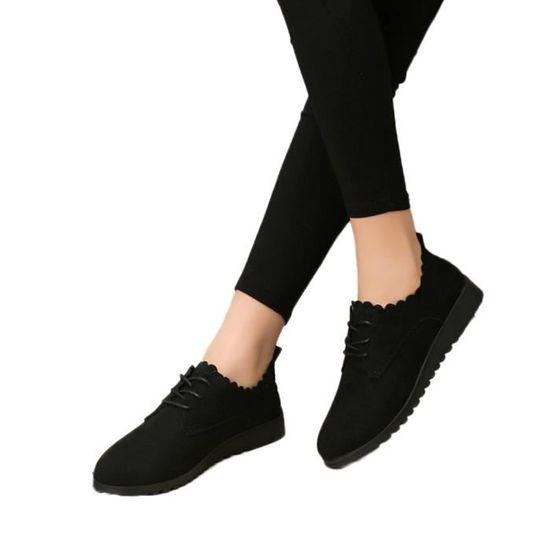 Lafayestore®Chaussures Bottes femme court Chaussures pour dames Mode cheville plat Suede Lace Up Casual LJD80814898BK36 Noir Noir Noir - Achat / Vente botte