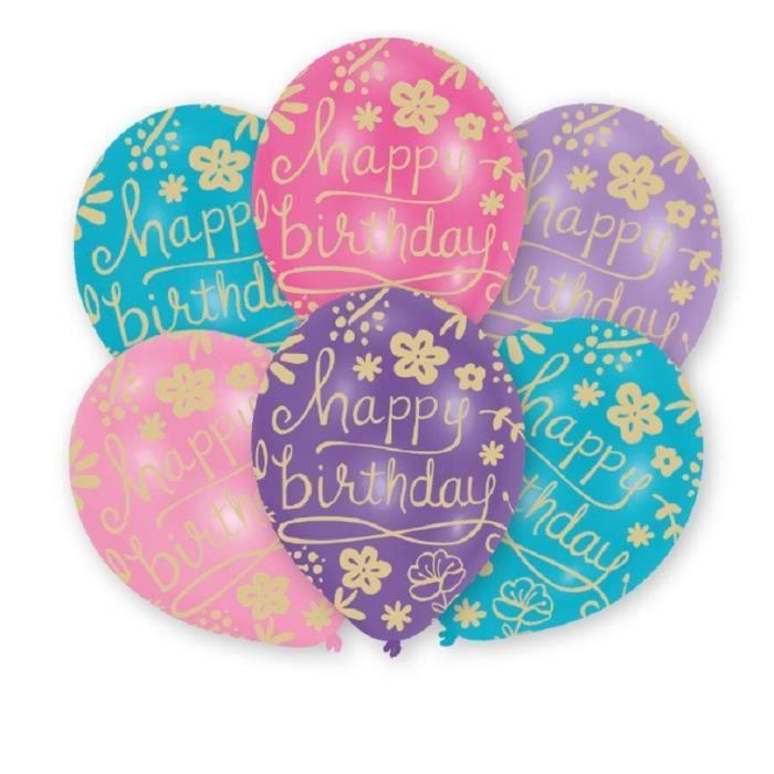 AMSCAN Lot de 6 ballons en latex imprimé Happy Birthday Floral - 27,5 cm