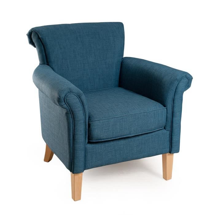 ALIENOR Fauteuil en tissu bleu azur - Classique - L 75 x P 76 cm
