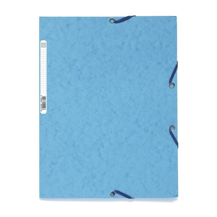 EXACOMPTA - Chemise à élastique - 3 rabats - 24 x 32 - Carte lustrée 390G - Bleu turquoise