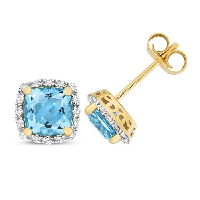 Boucles dOreilles Femme Or 375-1000 et Diamant Brillant 0.16 Carat avec Topaze Bleu - 8mm*8mm 35783