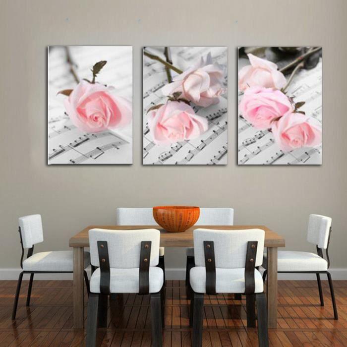Décoration de la maison de mode 3 pièces romantique rose peinture de ...