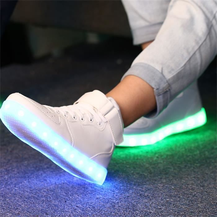 LED USB Shoes Sport Sneakers Lumineuses Chaussures Femme Fille Mode BLANC Taille:37 3MXvg