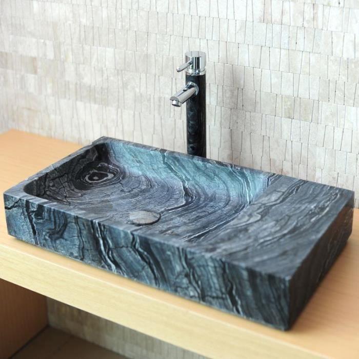 Vasque à Poser En Pierre Marbre Gris 70x38 Achat Vente