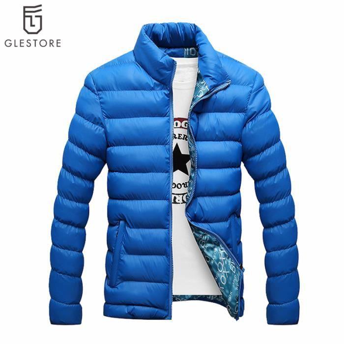 Bleu D'hiver Manteau Uni Homme Pour Achat Doudoune PFwXfqH